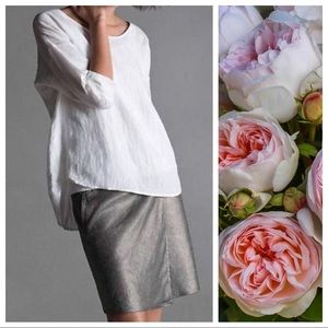 Eileen Fisher Silver Linen Wrap Skirt Size M EUC